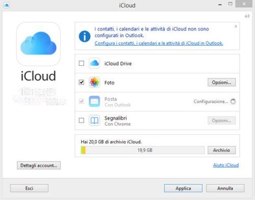 Nuovo pannello di controllo iCloud per Windows