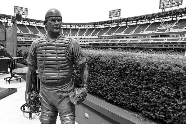 The Carlton Fisk statue at U.S. Cellular Field