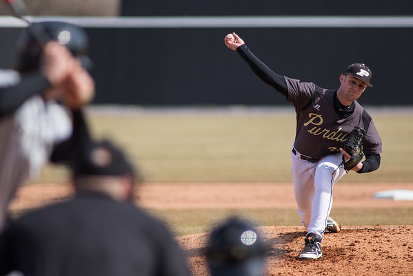 Purdue starter Matt Frawley pitches against Rutgers at Alexander Field