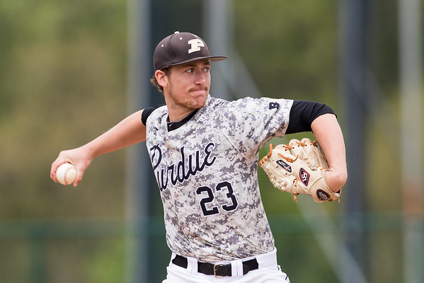 Mike Lutz delivers a pitch to home plate during the baseball game between the Valparaiso Crusaders and the Purdue Boilermakers on May 12, 2015