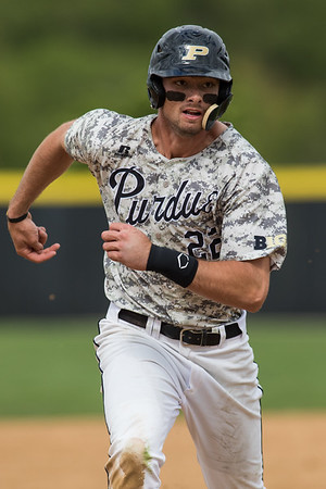 Kyle Johnson runs to third base during the baseball game between the Valparaiso Crusaders and the Purdue Boilermakers on May 12, 2015