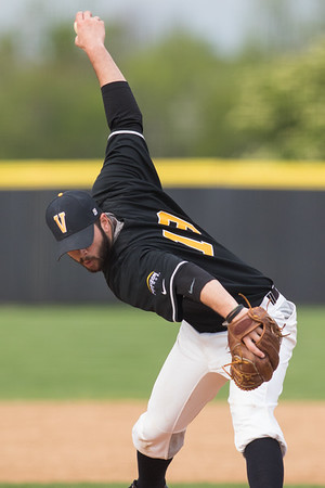 Bryce Yoder delivers a pitch during the baseball game between the Valparaiso Crusaders and the Purdue Boilermakers on May 12, 2015