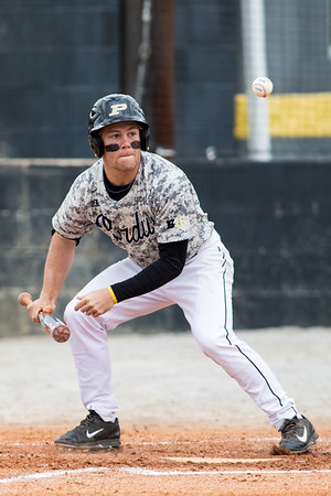 Harry Shipley attempts a bunt during the baseball game between the Valparaiso Crusaders and the Purdue Boilermakers on May 12, 2015