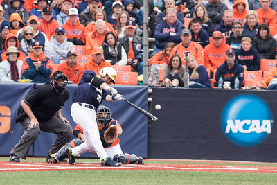 Ryan Lidge bats during the NCAA Champaign Regional Game between Notre Dame and Illinois on May 31, 2015
