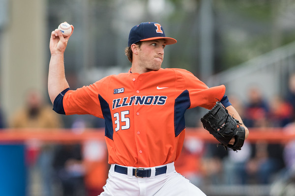 Drasen Johnson pitches during the NCAA Champaign Regional Game between Notre Dame and Illinois on May 31, 2015