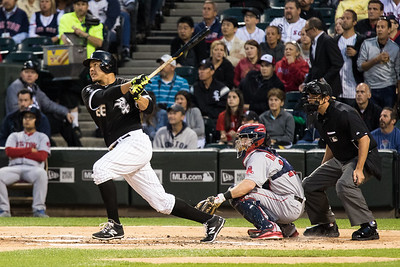 Avisail Garcia basts during the Chicago White Sox game against the Boston Red Sox on August 25, 2015