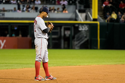Xander Bogaerts stand in the field during the Chicago White Sox game against the Boston Red Sox on August 25, 2015