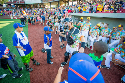 Brody Andrews of the Kokomo Jackrabbits is introduced to the crowd