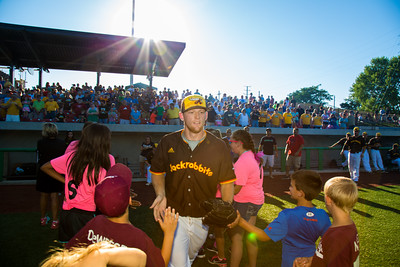 Kokomo Jackrabbits pitcher Bryce Rainey is introduced prior to his start against the Hannibal Cavemen on July 31, 2015