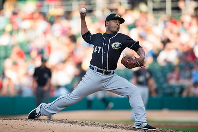 Junior Guerra pitches during the Indianapolis Indians game against the Charlotte Knights on August 1, 2015