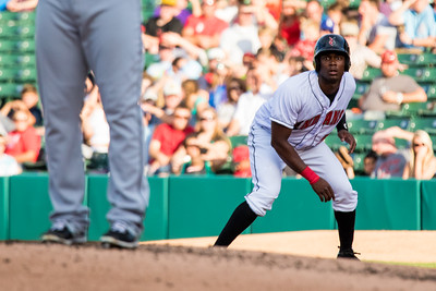 Josh Bell looks in to the pitcher during the Indianapolis Indians game against the Charlotte Knights on August 1, 2015