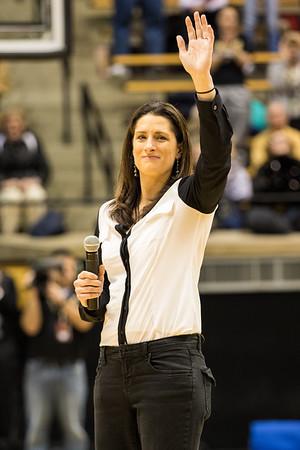Stephanie White addresses the Mackey Arena crowd