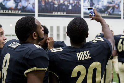 David Rose and Tim Cason take a selfie during the Purdue Football media day on August 9, 2015
