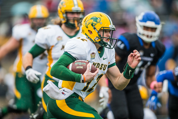 Quarterback Easton Stick runs for a touchdown in the first quarter for the North Dakota State Bison at Indiana State on October 24, 2015