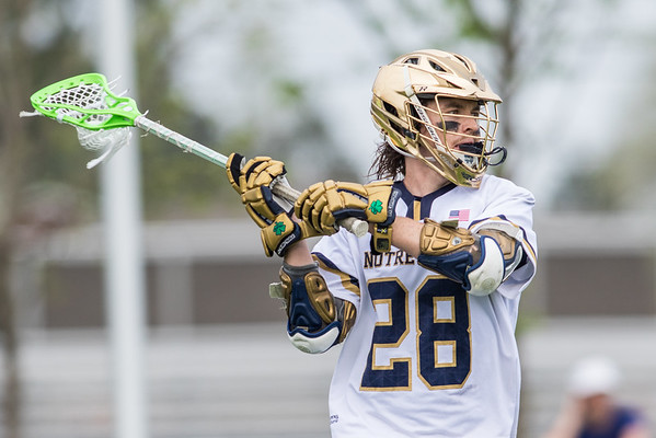 Matt Hoy with the ball during the NCAA Lacrosse First Round game between the Notre Dame Fighting Irish and Towson Tigers at Arlotta Stadium on May 9, 2015