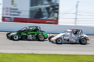 Jacob Wilson and Kody Swanson battle during the Day Before the 500 race at Lucas Oil Raceway in Speedway, Indiana on May 23, 2015.