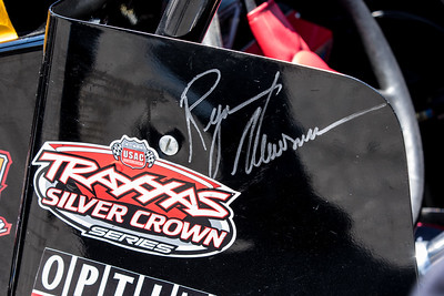 A Ryan Newman autograph on the side of Tanner Swanson's car at the Day Before the 500 race at Lucas Oil Raceway in Speedway, Indiana on May 23, 2015.