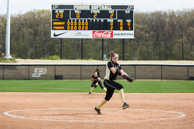 Lilly Fecho pitches in the seventh inning of her no-hitter on April 29, 2015