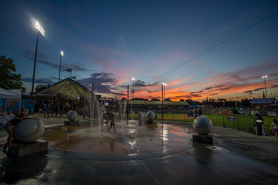 The sun sets at Four Winds Field in South Bend, Indiana on 7-22-15
