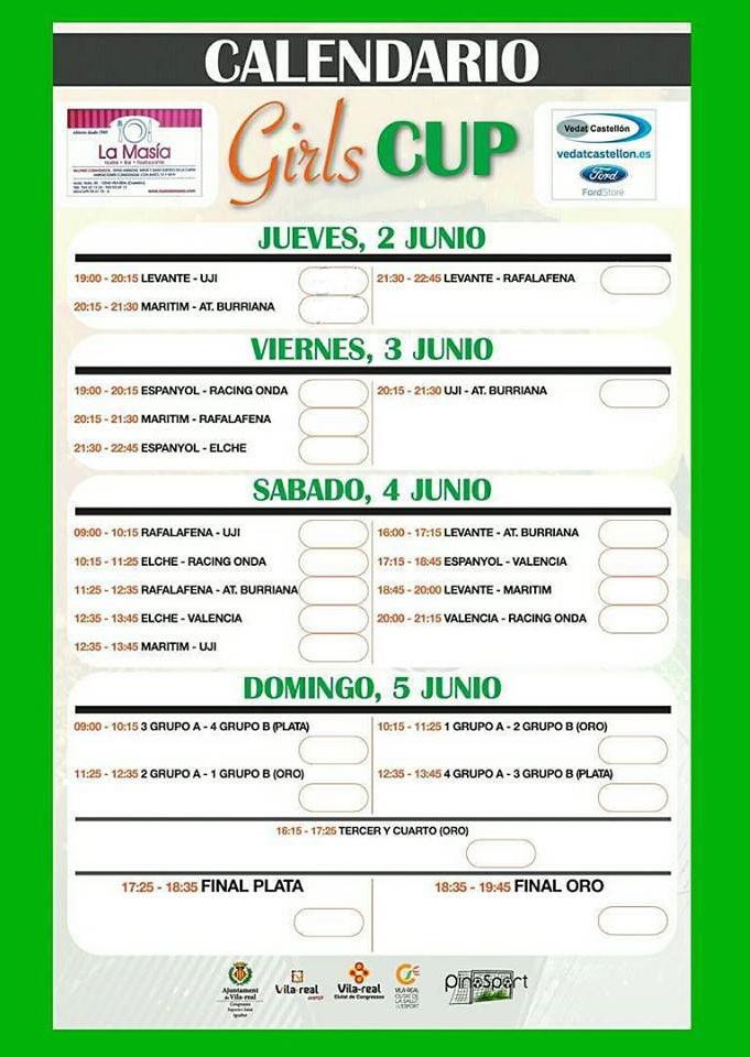 Tabla de partidos Girl Cup 2016