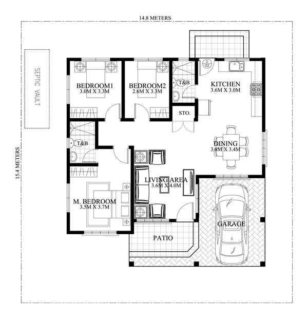 One Story house floor plan with elegance