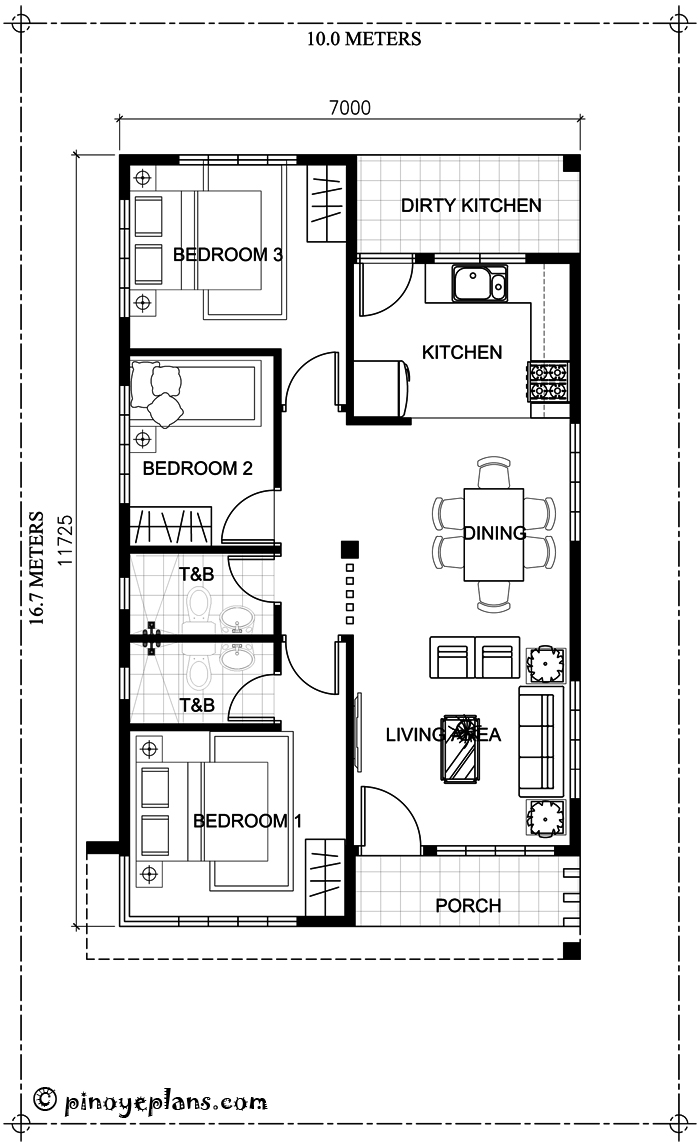Simple yet elegant 3 bedroom house design shd 2017031 for 150 sq meter floor plan