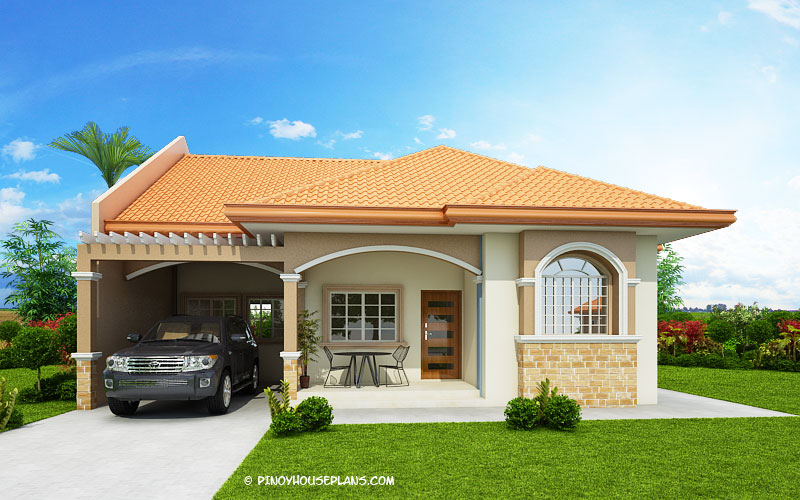 Hasinta   Bungalow House Plan with Three Bedrooms   Pinoy House Plans     to maximize the lot and design it with firewalls and this is what  Hasinta model has shown  Be sure to include this house plan for your future  choosing