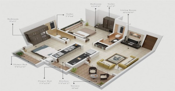 Top 15 free 3d floor plan designs for 2 br houses and for 6 bedroom house designs 3d