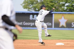 Thairo Estrada turns a double play to end the second inning (Robert M Pimpsner)