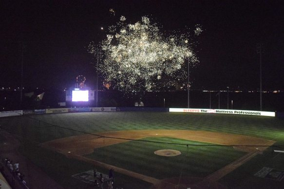 After the game fans were treated to a fireworks display beyond the center field fence (Robert M Pimpsner)