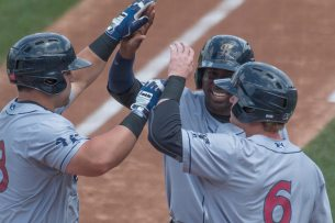 Celebration at the plate (Cheryl Pursell)