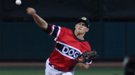 Joey Maher pitching for the Charleston RiverDogs (© Wickedgood   Dreamstime.com)