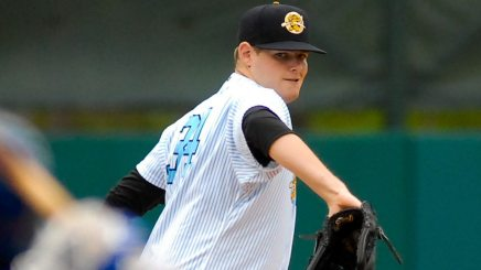 Montgomery began the 2015 season with the Charleston RiverDogs where in nine games he struck out 55 batters in 43 2/3 innings pitched. (Jerry Coli)