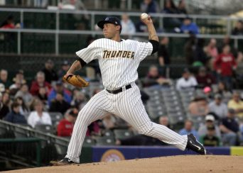 Left-handed pitching prospect Miguel Sulbaran pitching on Trenton Thunder opening day 2015 (Jessica Kovalcin)