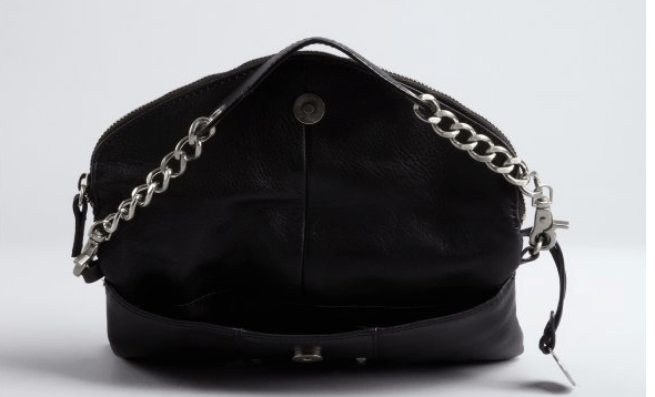 Black Leather Foldover Clutch