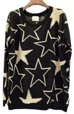 Jersey_estrellas_blanco_y_negro_Total_look_outfit_PintandoUnaMama