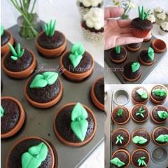 Originales Cupcakes de Chocolate en Forma de Macetas