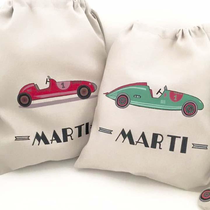 Sacos de tela y mochilas personalizadas de marietis for Vajillas bebe personalizadas