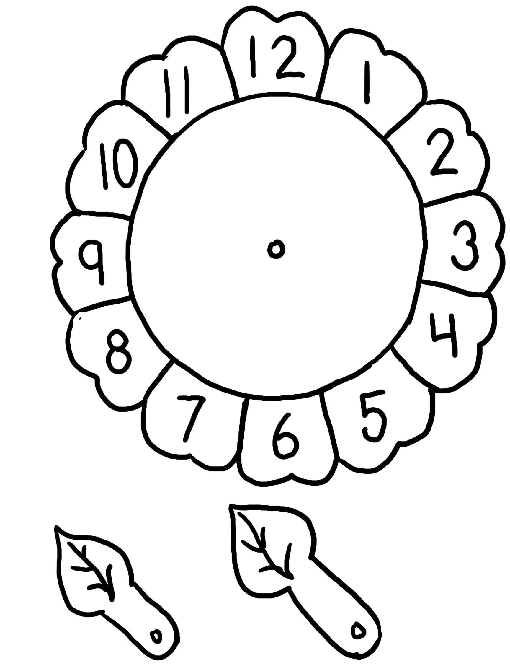 Dibujo De Reloj En Forma De Flor Para Colorear