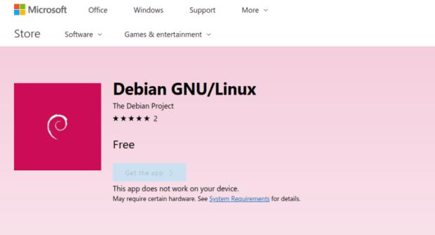 Debian Linux in Miocrosoft Windows 10