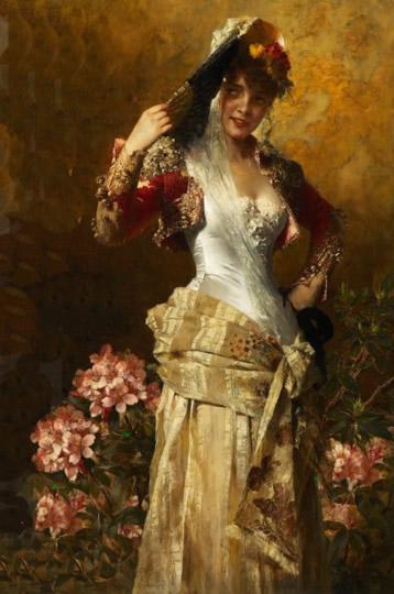 Retrato femenino, arte romántico alemán por Kiesel.