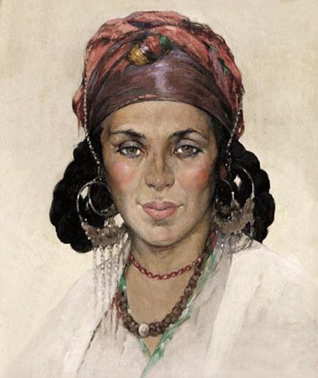 Mujer con toca, orientalismo costumbrista por Deckers.
