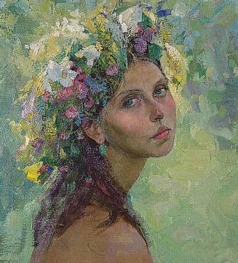 Retrato modernista romántico por el ruso Drozdov.