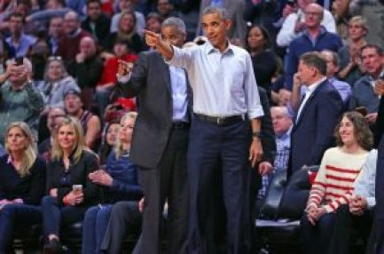 Oct 27, 2015; Chicago, IL, USA; United States president Barack Obama during the second half of a game between the Chicago Bulls and the Cleveland Cavaliers at the United Center. Chicago won 97-95. Mandatory Credit: Dennis Wierzbicki-USA TODAY Sports