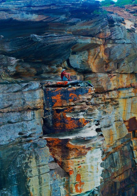 Caleb Diehl ('16) perches on a mineral rock formation in the Royal National Park, located south of Sydney.