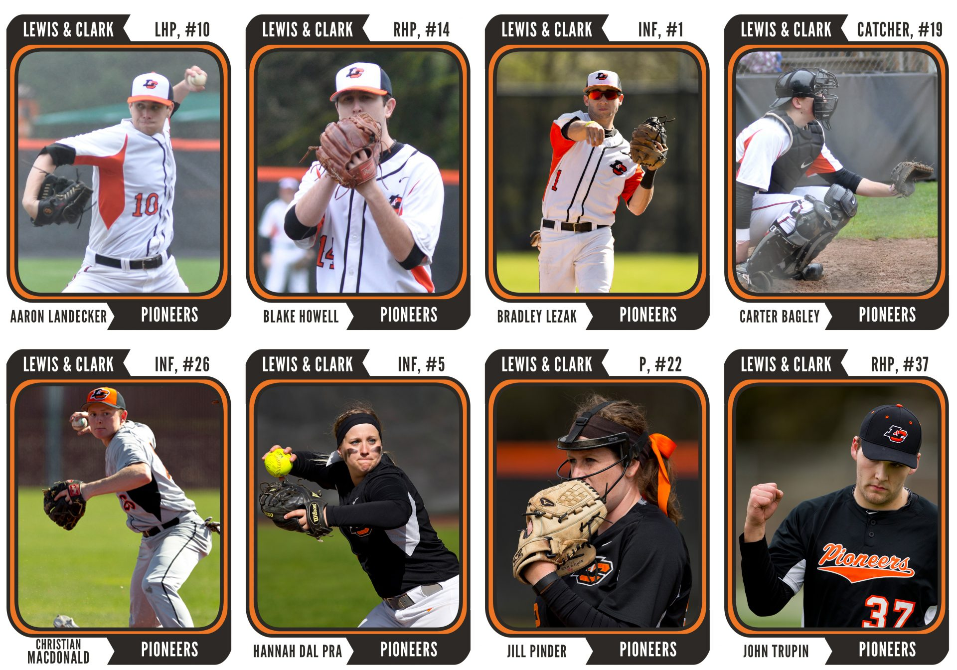 The ensemble of the Baseball and Softball seniors, represented in the prime of their four year careers as Lewis & Clark Pioneers, honored in Topps-style card form. (Photos Courtesy LC Pioneers, Graphics by Peter Melling)