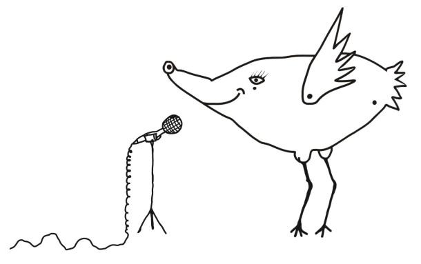Graficzny rysunek ptaka przed mikrofonem. Mikrofon stoi z lewej strony, ptak z prawej