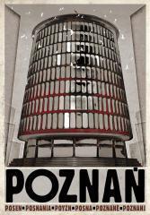 Plakat z serii plakatów Polska. Graficzny rysunek poznańskiego Okrąglaka. Pod rysunkiem czarny napis Poznań.