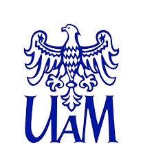 Niebieski orzeł na białym tle, poniżej duże niebieskie litery UAM