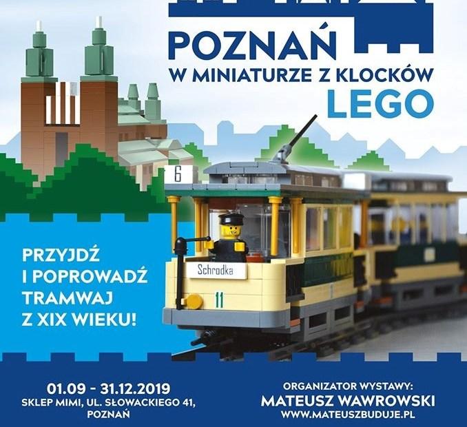 Plakat promujący wydarzenie Poznań w miniaturze z klocków Lego z podaniem miejsca i daty wydarzenia
